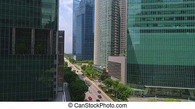 Crossroads in the business center of Singapore