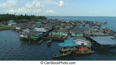 Fishing village on the water - Aerial footage Fishing ...