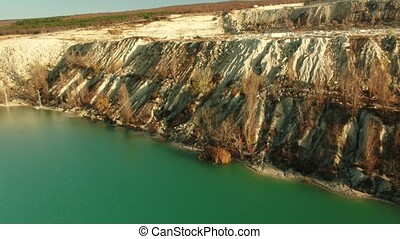 flooded quarry quarry - Aerial footage flooded quarry quarry