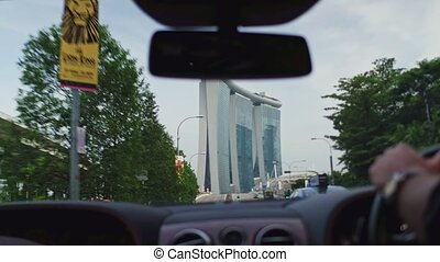 landmark view of Singapore from the car window