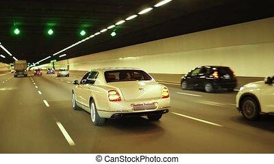 Luxury car in tunnel