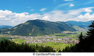 Aerial footage of beautiful mountains in european Alps at...