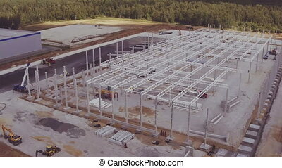 Aerial footage of building new large industrial complex