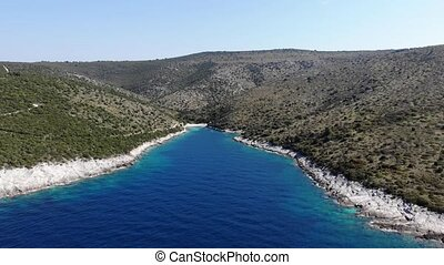 Aerial footage of flying into spectacular adriatic bay....