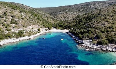Aerial footage of flying out of spectacular adriatic bay....