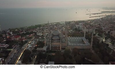 Aerial footage of Istanbul. Hagia Sophia and Blue Mosque in Sultanahmet Square