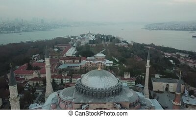 Aerial footage of Istanbul. Hagia Sophia and Blue Mosque in...