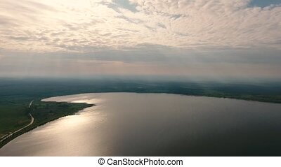 Aerial Footage of Lake Against Sky