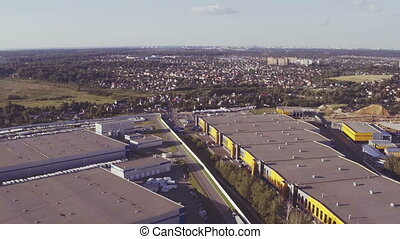 Aerial footage of large industrial complex - Aerial footage...