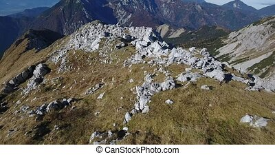 Aerial footage of mountain ridge. Slovenia northern border -...