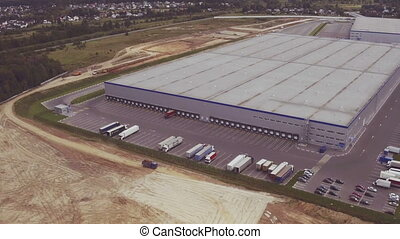 Aerial footage of new large industrial complex