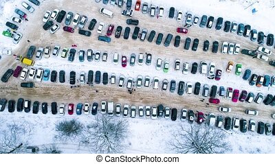 Aerial footage of parking in winter