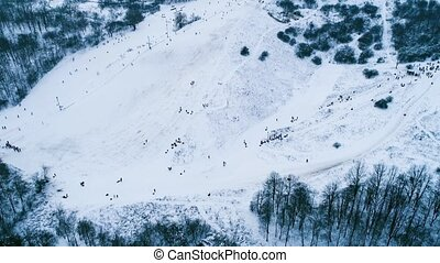 Aerial footage of place for skiing near forest - Aerial...
