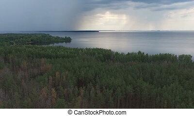 Aerial Footage of Rain Above Coastline.