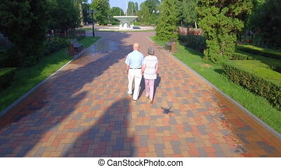 Aerial footage of senior couple walking outdoors in park