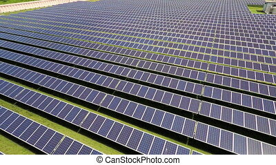 Aerial footage of solar panels in solar park