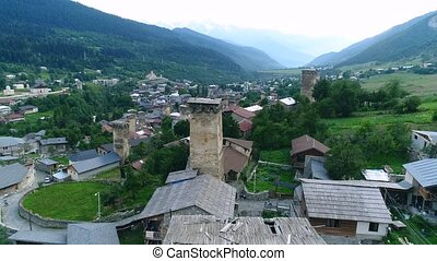 Aerial footage of Svaneti towers, Mestia - Aerial footage in...