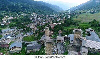 Aerial footage of Svaneti towers, Mestia - Aerial footage in...