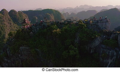Aerial footage of the famous Dragon Statue and Mua Caves in Ninh Binh - Vietnam