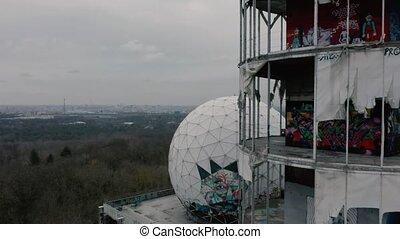 aerial footage of the former US radar station on the Teufelsberg Berlin, Germany
