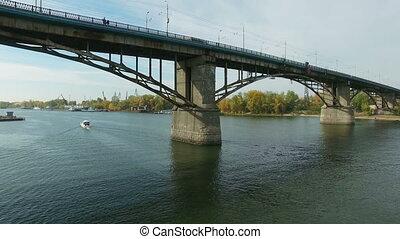 Aerial footage of traffic at bridge