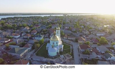Aerial footage of Vilkovo city center - top view of church...