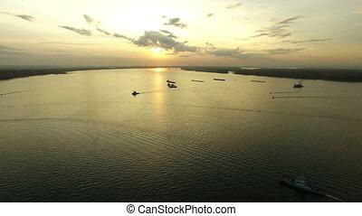 Aerial footage of Volga river