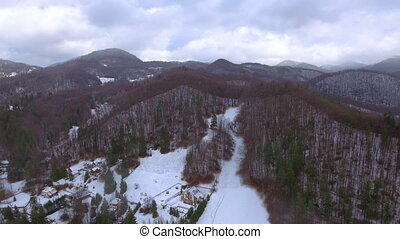 Aerial footage of winter season in the mountains