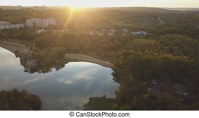 Aerial footage over Echo Park Lake. - Aerial footage over ...
