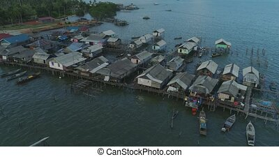 Settlement of fishermen on the water - Aerial footage...