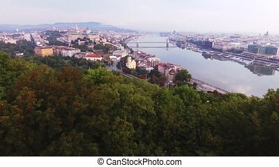 Aerial footage shows the historical Buda Castle near the...