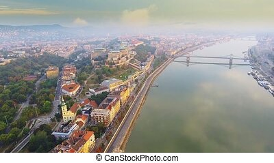 Aerial footage shows the historical Buda Castle near the Danube on Castle Hill in Budapest, Hungary.