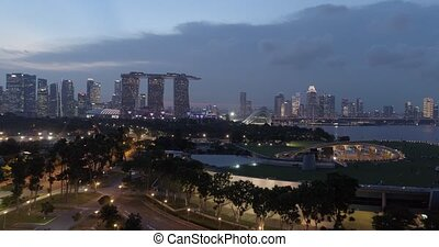 Singapore late in the evening - Aerial footage Singapore...