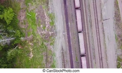 Aerial Footage Video of Train and Train Tracks.
