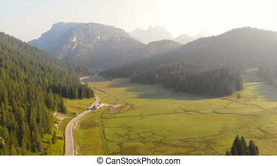 Aerial foret mountains road nature dawn - Drone view flight...