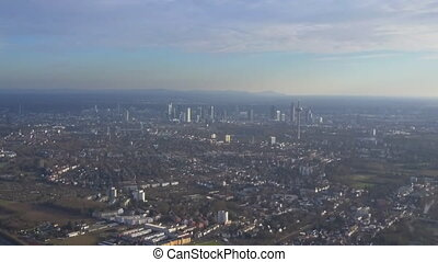 AERIAL: Frankfurt am Main from far away at Sunshine