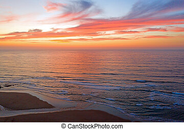 Aerial from a beautiful sunset at the west coast in Portugal