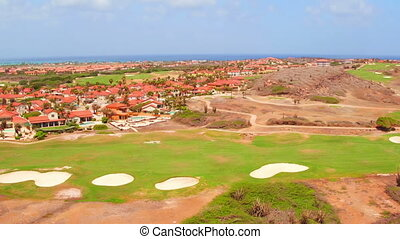 Aerial from a golf field on Aruba