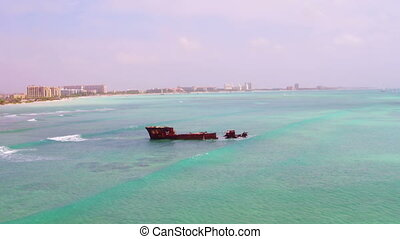 Aerial from a ship wreck at Aruba - Aerial from a ship wreck...