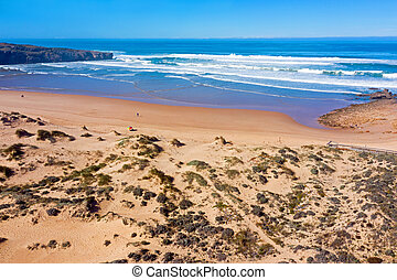 Aerial from Amoreira beach in the Algarve Portugal