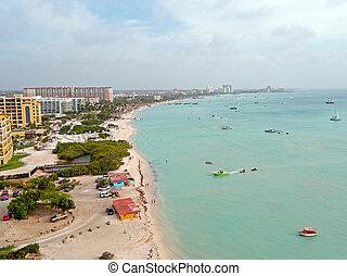 Aerial from Aruba island in the Caribbean Sea