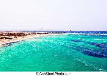 Aerial from Boca Grandi beach on Aruba island in the Caribbean Sea