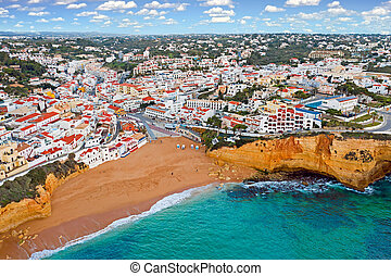 Aerial from Carvoeiro in the Algarve Portugal