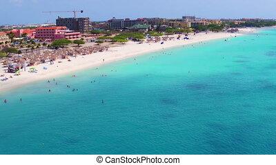 Aerial from Eagle beach on Aruba island in the Caribbean