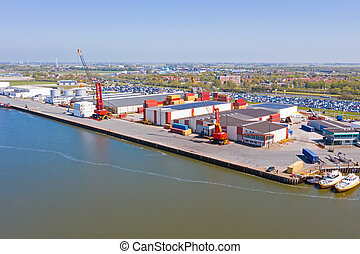 Aerial from industry in the port of Harlingen in the Netherlands
