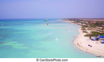 Aerial from kite surfing on Aruba