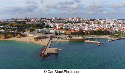 Aerial from Lagos in the Algarve Portugal