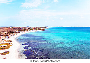 Aerial from Malmok beach on Aruba island in the Caribbean