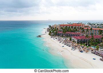 Aerial from Manchebo beach on Aruba island in the Caribbean