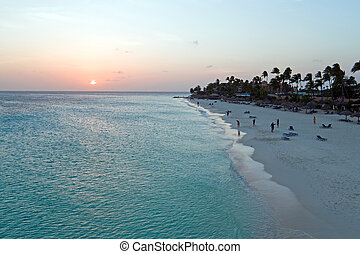 Aerial from Manchebo beach on Aruba island in the Caribbean Sea